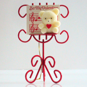 Valentine Teddy Bear on Red Music Stand Ornament